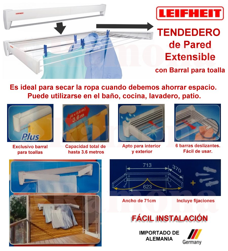 Tendedero de pared retractil extensible 70cm leifheit aleman - Tendedero de pared extensible ...