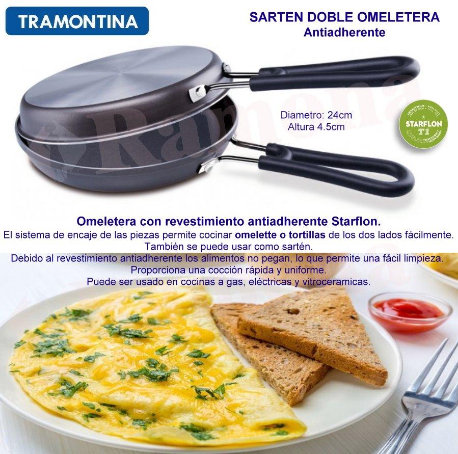 Sarten doble omeletera y tortillas tramontina - Sartenes para tortilla ...